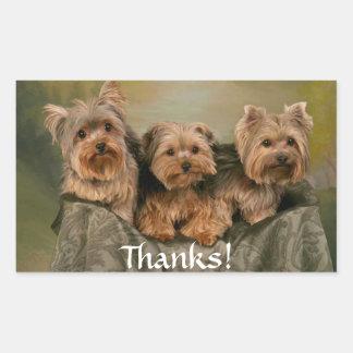 Autocollant de chiots de Yorkshire Terrier merci