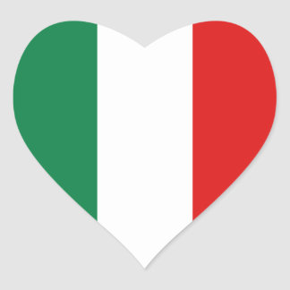 Autocollant de coeur de drapeau de l'Italie