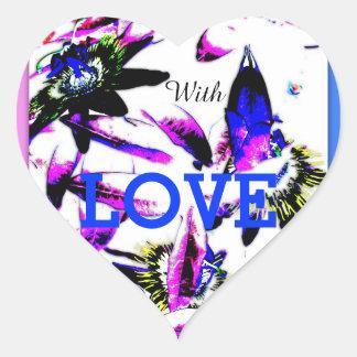 Autocollant de coeur de fleur de passiflore de