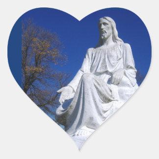 Autocollant de coeur de statue du Christ