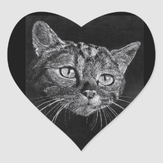 Autocollant de coeur de visage de chat