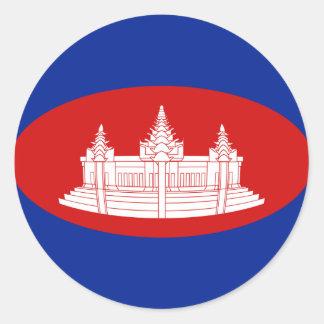 Autocollant de drapeau du Cambodge Fisheye