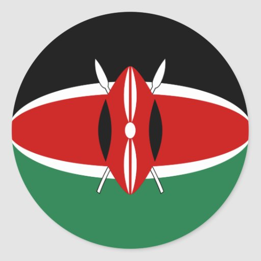 Autocollant de drapeau du Kenya Fisheye
