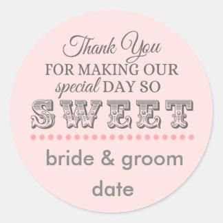 Autocollant de faveur de Merci pour des mariages