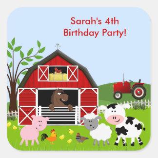 Autocollant de fête d'anniversaire d'animaux de