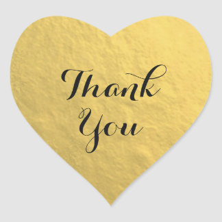 Autocollant de Merci de coeur de feuille d'or