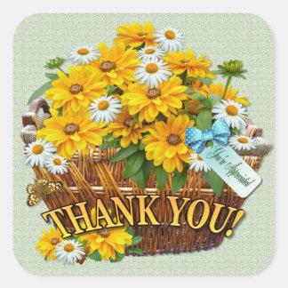 Autocollant de Merci de ~ de panier de fleur