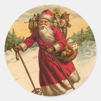 Autocollant de Noël de Père Noël de ski