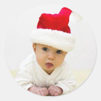 Autocollant de Noël de photo de bébé