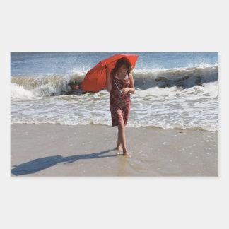 Autocollant de photographie de parapluie de plage