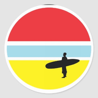 Autocollant de surfer de coucher du soleil
