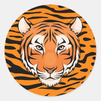 Autocollant de tigre (cercle) - deviennent comme