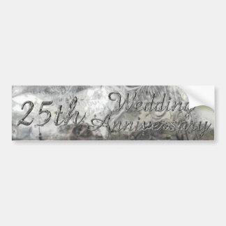 Autocollant De Voiture 25ème Typographie argentée chic d'anniversaire de