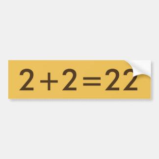 Autocollant De Voiture 2+adhésif pour pare-chocs drôle des maths 2=22