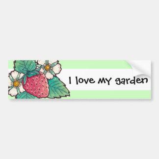 Autocollant De Voiture Amour du fraisier I mon jardin
