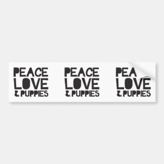 Autocollant De Voiture Amour et chiots de paix