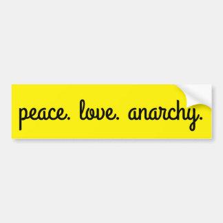 Autocollant De Voiture Anarchie d'amour de paix : Noir et jaune de