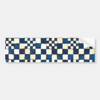 Autocollant De Voiture Arrière - plan criqué bleu et blanc de texture de
