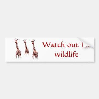 Autocollant De Voiture Art de faune de girafe avec le message de