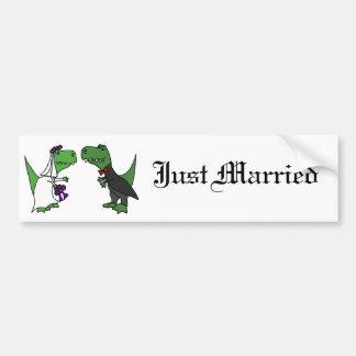 Autocollant De Voiture Art drôle de mariage de jeunes mariés de dinosaure