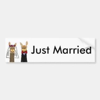 Autocollant De Voiture Art drôle de mariage de jeunes mariés de lama
