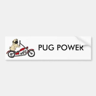 Autocollant De Voiture Art drôle de moto d'équitation de chien de carlin