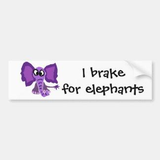 Autocollant De Voiture Art pourpre drôle de primitif d'éléphant