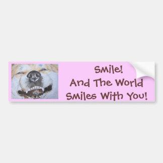 Autocollant De Voiture art réaliste de sourire mignon drôle de chien