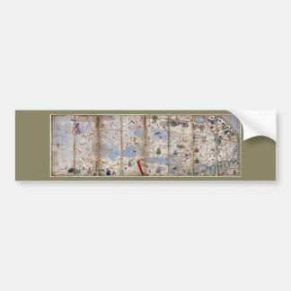 Autocollant De Voiture Atlas catalan de 8 panneaux par Abraham Cresques