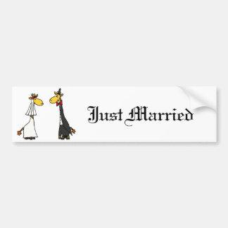 Autocollant De Voiture Bande dessinée drôle de mariage de jeunes mariés
