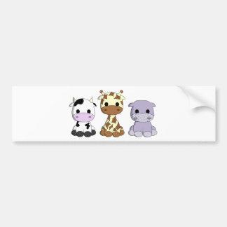 Autocollant De Voiture Bande dessinée mignonne d'hippopotame de girafe de