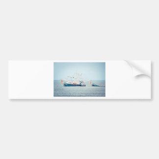 Autocollant De Voiture Bateau bleu de crevette sur l'océan