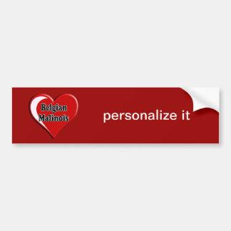 Autocollant De Voiture Belge Malinois sur le coeur pour des amoureux de