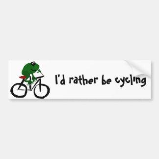 Autocollant De Voiture Bicyclette drôle d'équitation de grenouille verte