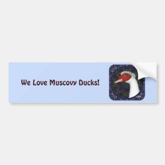 Autocollant De Voiture Blanc de tête de canard de Muscovy