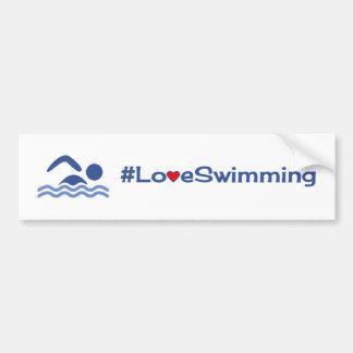 Autocollant De Voiture Bleu de natation d'amour sur le blanc
