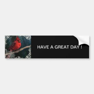 Autocollant De Voiture Cardinal rouge de Noël primitif blanc de dentelle
