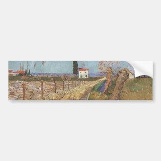Autocollant De Voiture Chemin à travers un champ avec les saules 1888
