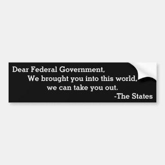 Autocollant De Voiture Cher gouvernement fédéral