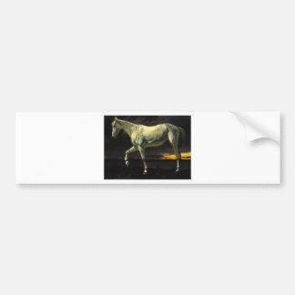 Autocollant De Voiture Cheval blanc et coucher du soleil par Albert