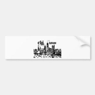 """Autocollant De Voiture Chicago """"chi-ville"""" a mis dessus pour votre ville"""