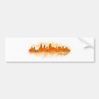 Autocollant De Voiture Chicago cityscape watercolor skyline v03