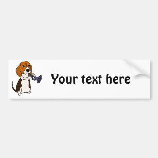 Autocollant De Voiture Chien drôle de beagle jouant la trompette