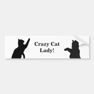 Autocollant De Voiture Citation FOLLE de DAME amusement de CAT pour des