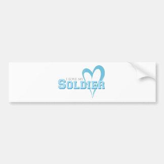 Autocollant De Voiture Coeur griffonné par bleu - amour d'I mon soldat
