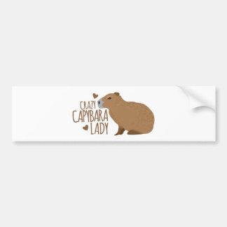 Autocollant De Voiture dame folle de capybara