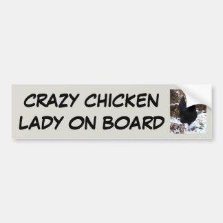 Autocollant De Voiture Dame folle de poulet à bord
