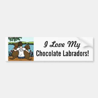 Autocollant De Voiture Deux chocolat Labradors et maman