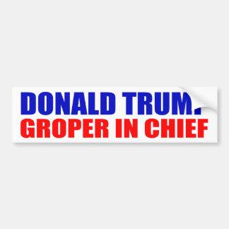 """AUTOCOLLANT DE VOITURE """"DONALD TRUMP : GROPER DANS LE CHEF """""""