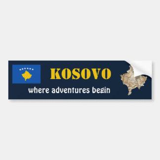 Autocollant De Voiture Drapeau de Kosovo + Adhésif pour pare-chocs de
